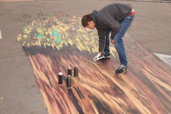 В субботу состоялась премьера 3D стрит-арт